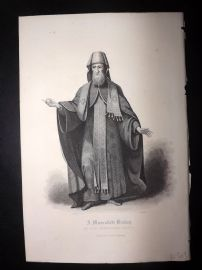 After Picart 1860 Antique Print. A Muscovite Bishop. Russia